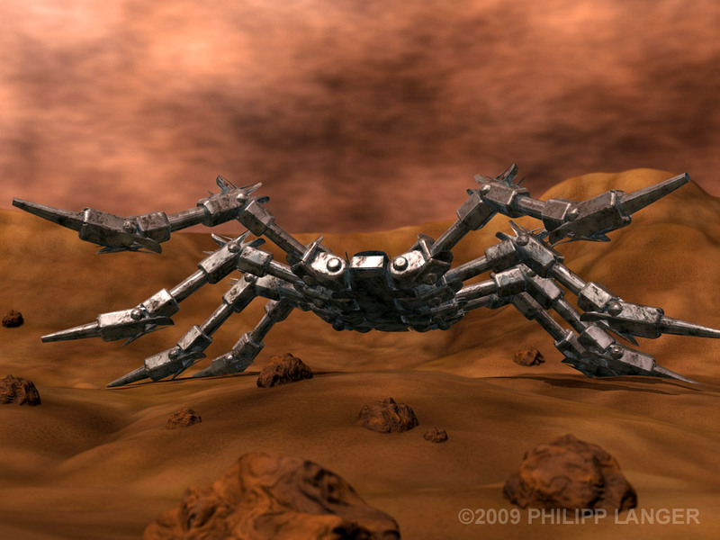 Blechspinne in Marslandschaft / Tin Spider on Mars